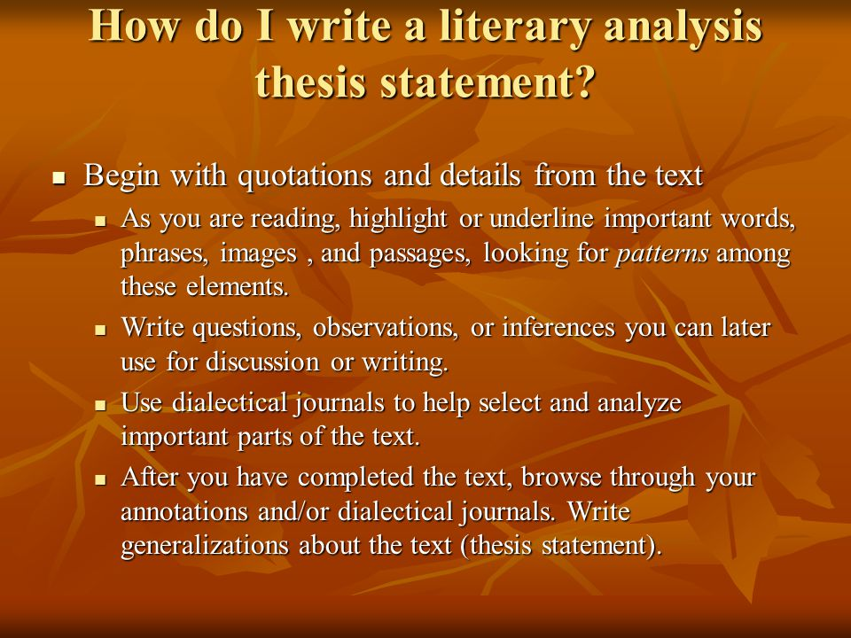 how to write a thesis statement for a literary analysis