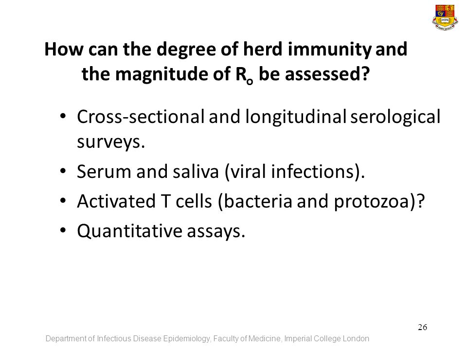 How can the degree of herd immunity and the magnitude of Ro be assessed