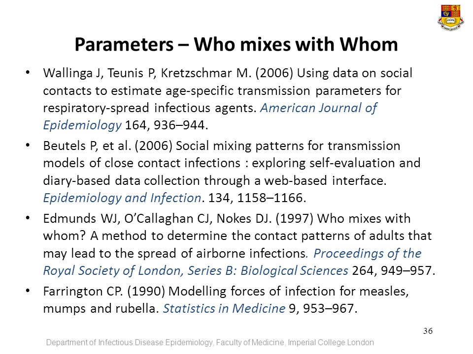 Parameters – Who mixes with Whom