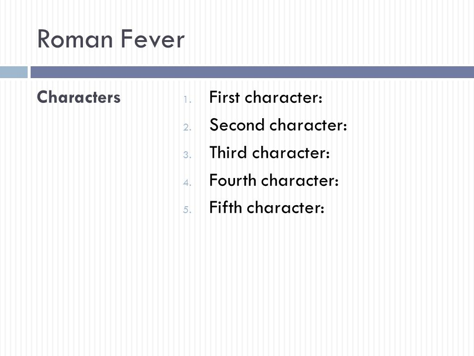 roman fever characters