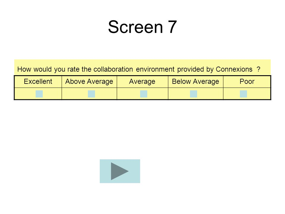 Screen 7 How would you rate the collaboration environment provided by Connexions Excellent. Above Average.