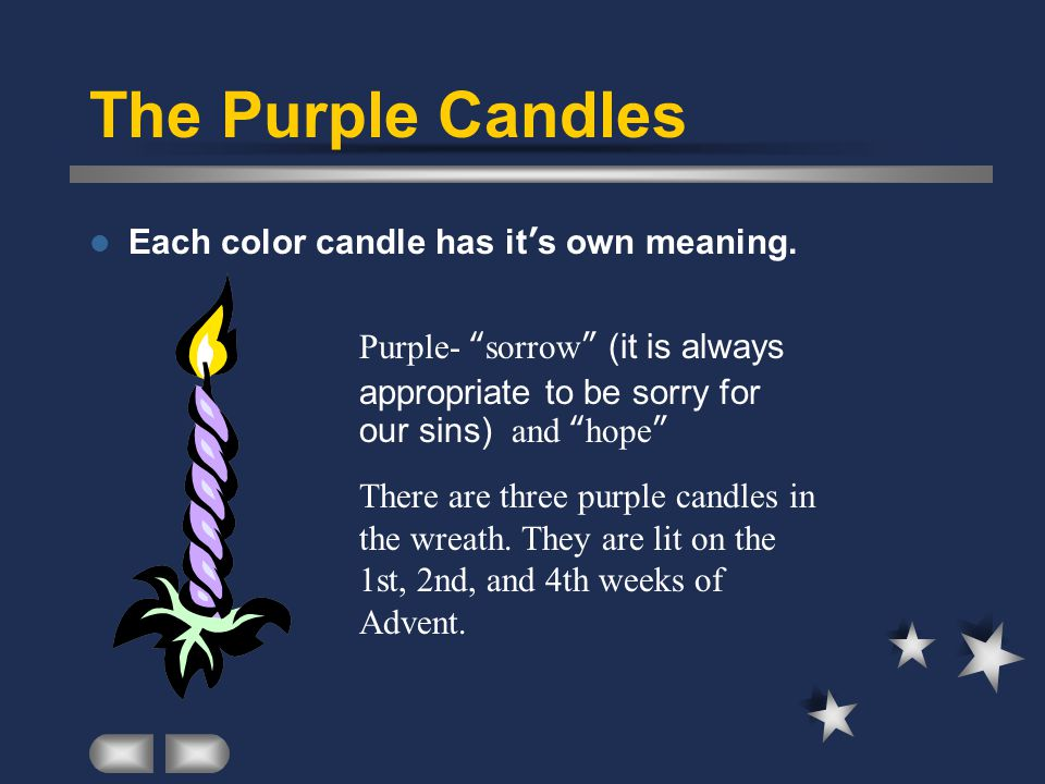 the purple candles each color candle has its own meaning