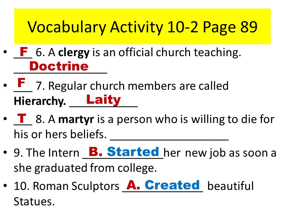 Vocabulary Activity 10-2 Page 89