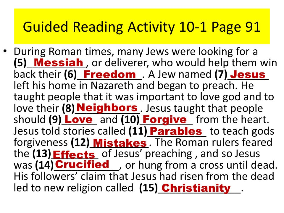 Guided Reading Activity 10-1 Page 91