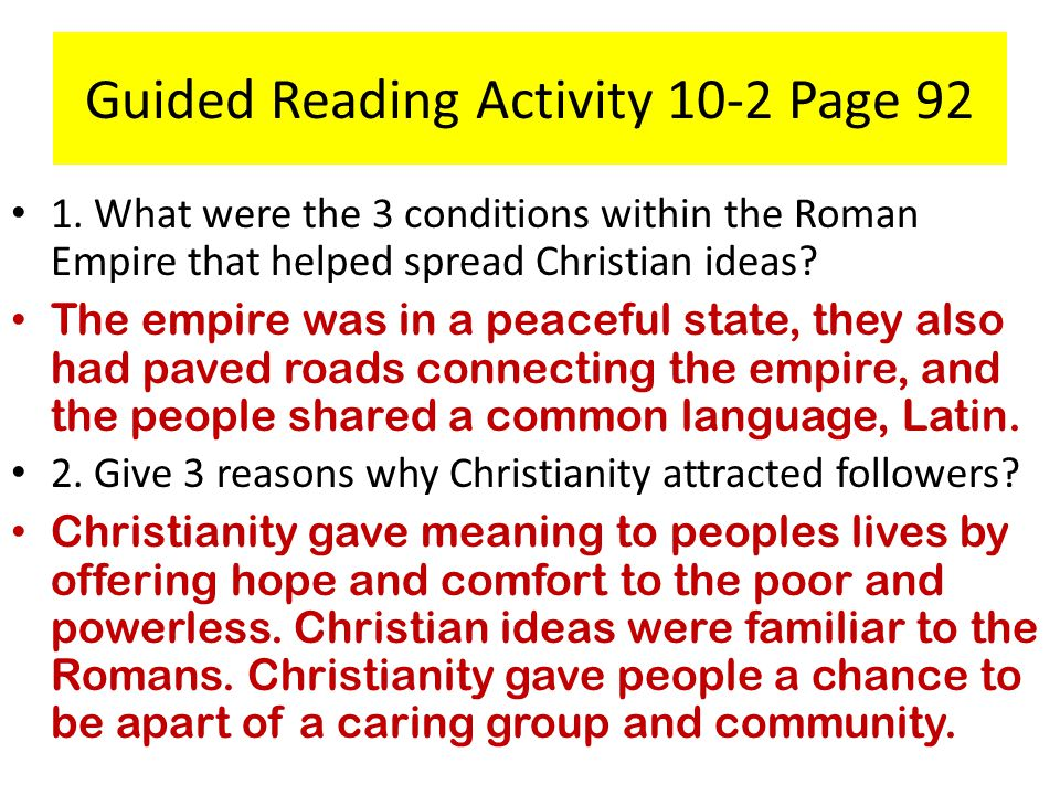 Guided Reading Activity 10-2 Page 92