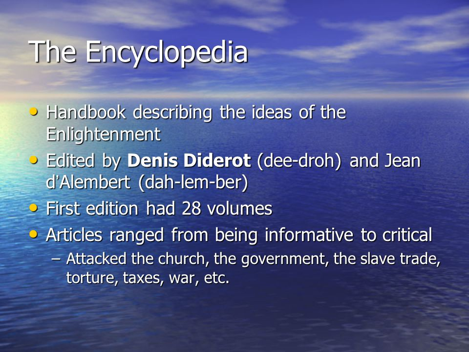 The Encyclopedia Handbook describing the ideas of the Enlightenment