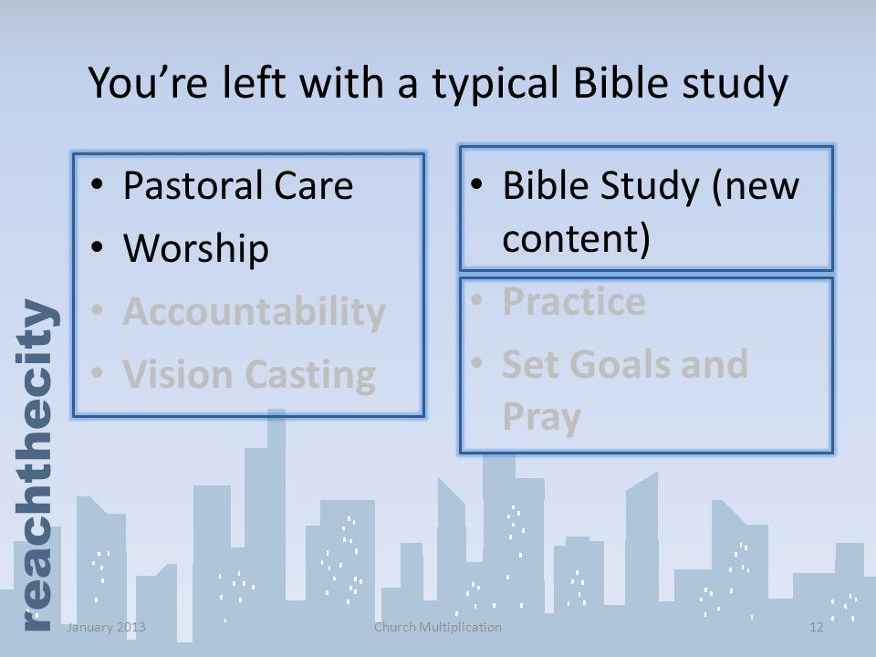 You're left with a typical Bible study
