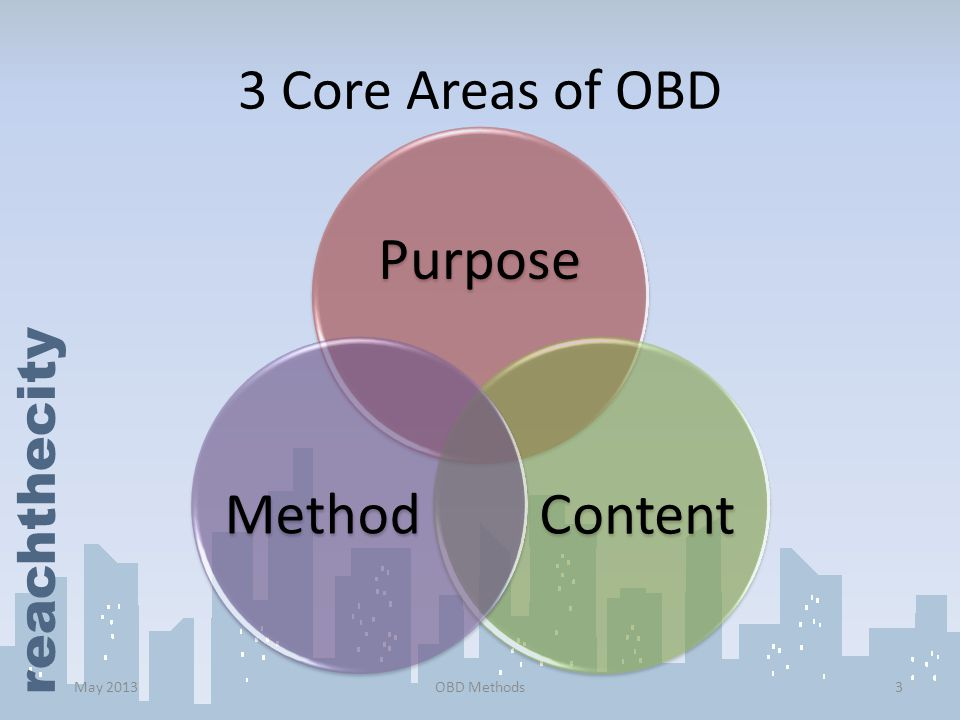 3 Core Areas of OBD Purpose Content Method May 2013 OBD Methods