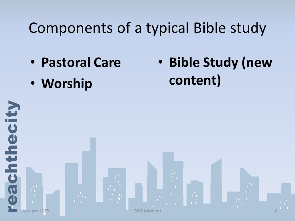 Components of a typical Bible study