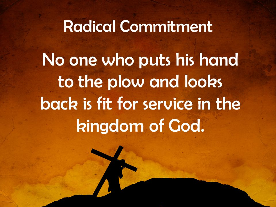Radical Commitment No one who puts his hand to the plow and looks back is fit for service in the kingdom of God.