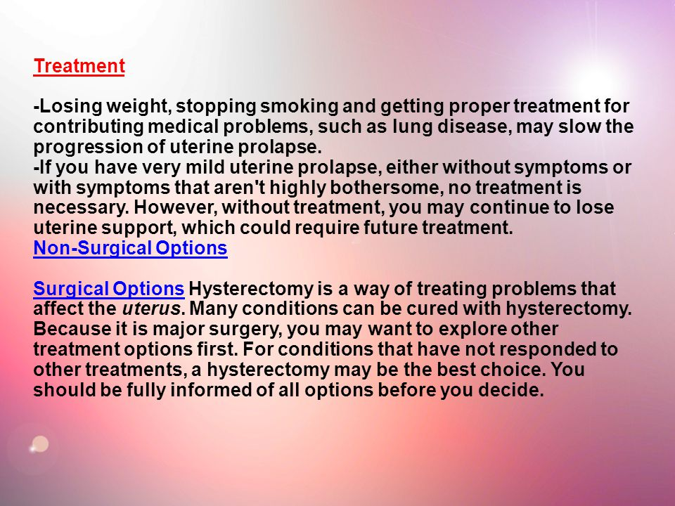 Of treatment prolapse uterus
