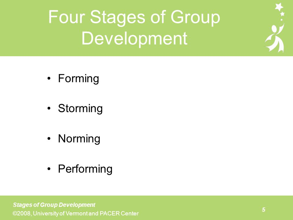 The slide above gives an idea of what a stage 1 team looks like and needs to do in order to establish a good foundation for future collaboration. While some members may feel that early discussions about how to form the team seem like a lot of process with minimal completion of tasks, effective team leaders can model the importance of laying this groundwork in order to avoid confusion and conflict in the future. It is critical for new teams to know what their purpose is and what they would like to accomplish. The establishment of group norms provides an opportunity for team members to discuss how they would like to function and communicate with one another. Examples of group norms typically used by collaborative teams include: