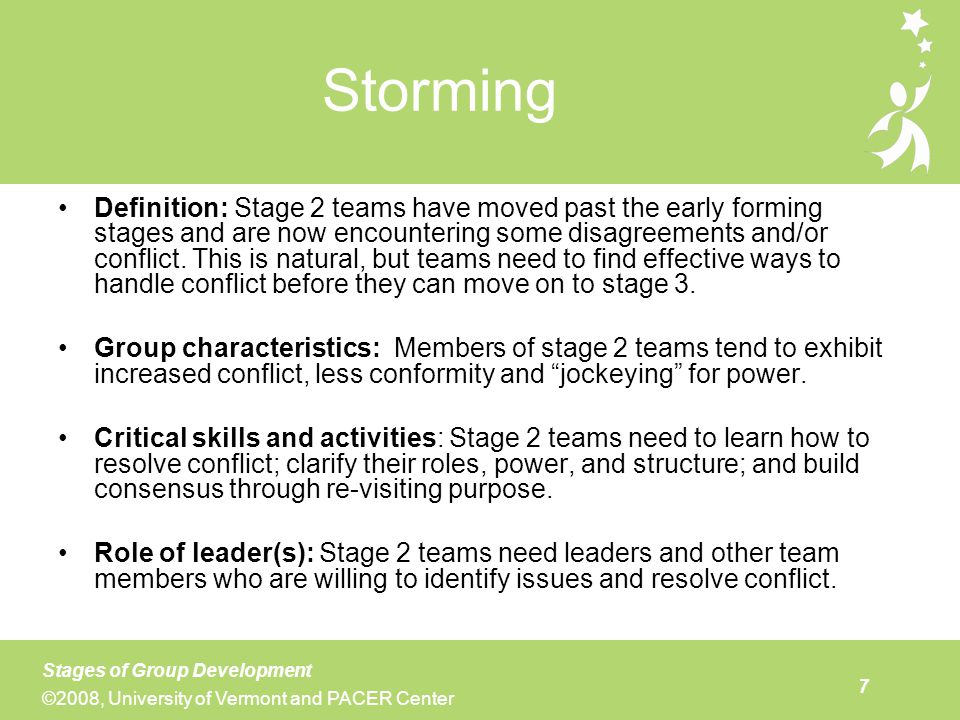 Stage 2 is not a place that most teams want to be for too long, so most teams will eventually find ways to move to norming, or stage 3. This stage is characterized by utilization of more sophisticated problem-solving and decision-making. Some teams find it helpful to use specific problem-solving protocols, while others develop their own strategies (see module 9 for more on problem-solving). Stage 3 teams continue to work on conflict resolution, but they no longer view conflict as a problem. A key characteristic of stage 3 is the shifting of leadership to include all members of the group. While one person may remain a designated team leader, this person is no longer the primary leader. Leadership may shift from meeting to meeting, depending on what topic is being discussed and who has expertise that is relevant in that area. It is important that the team remains vigilant about including time for processing and monitoring of its functioning. If it fails to do this, the team may revert to some of the patterns observed in stage 2.