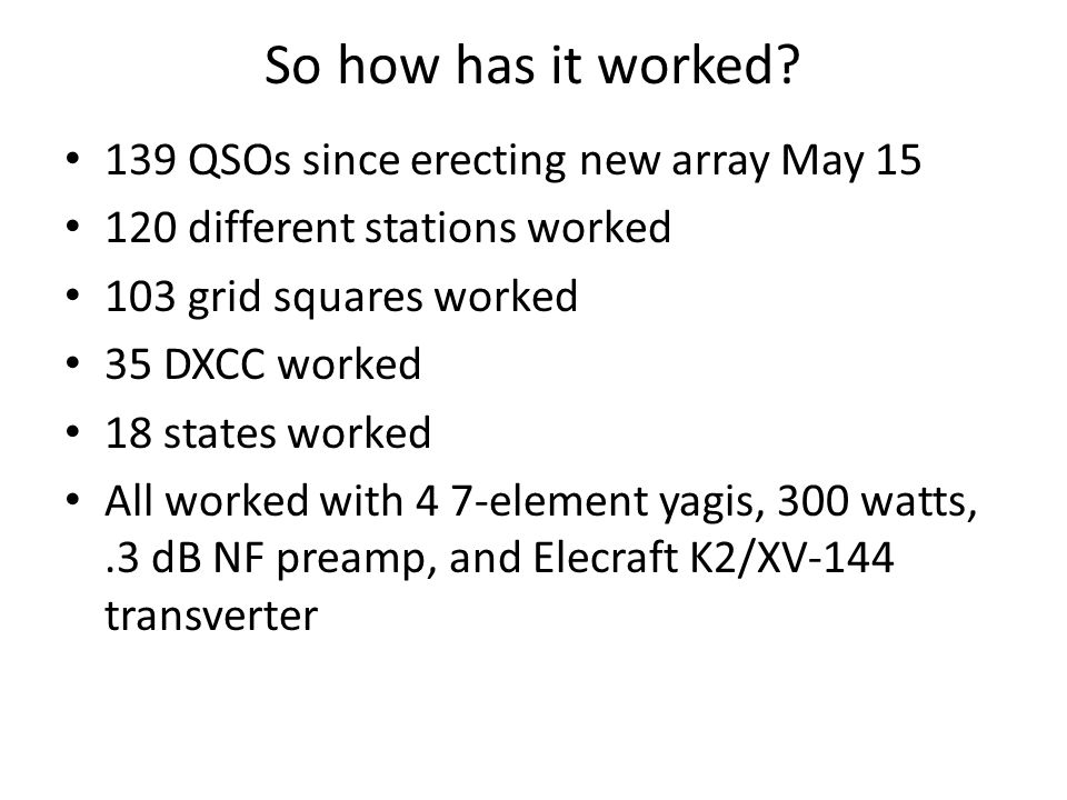 So how has it worked 139 QSOs since erecting new array May 15