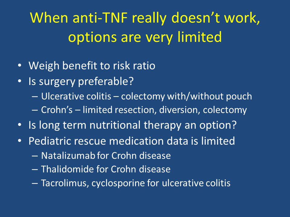 When anti-TNF really doesn't work, options are very limited