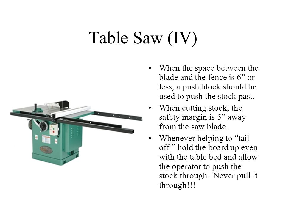 Table Saw (IV) When the space between the blade and the fence is 6 or less, a push block should be used to push the stock past.