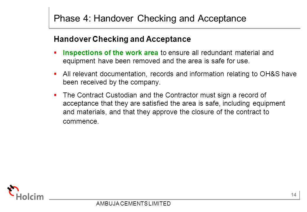 Phase 4: Handover Checking and Acceptance