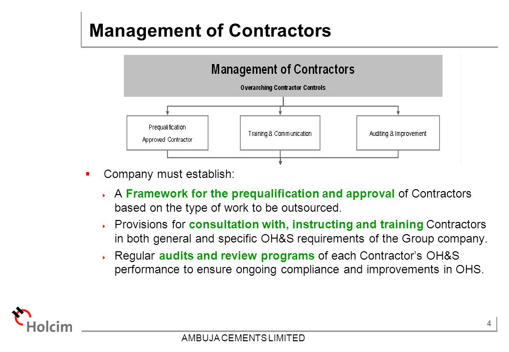 Management of Contractors