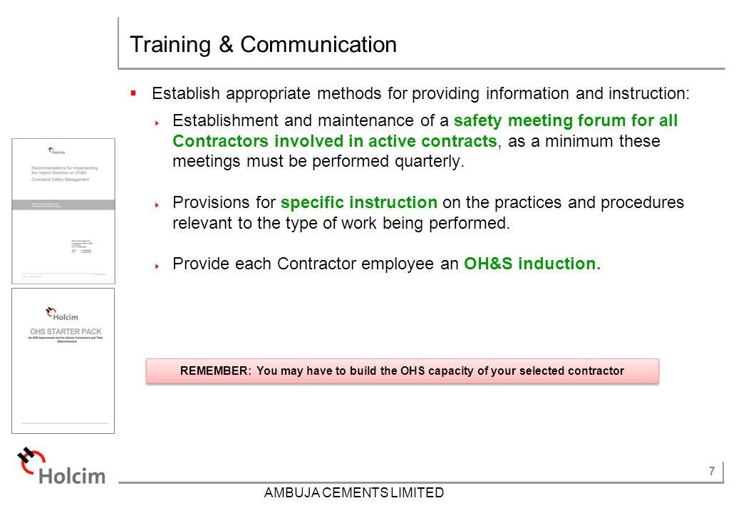 Training & Communication