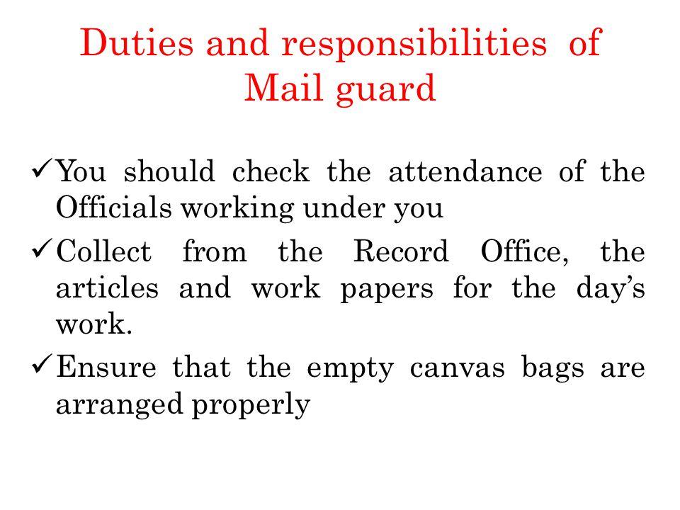 guard duties and responsibilities