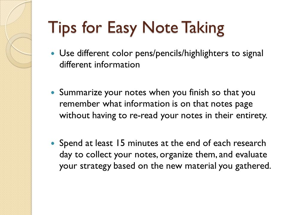 Tips for Easy Note Taking