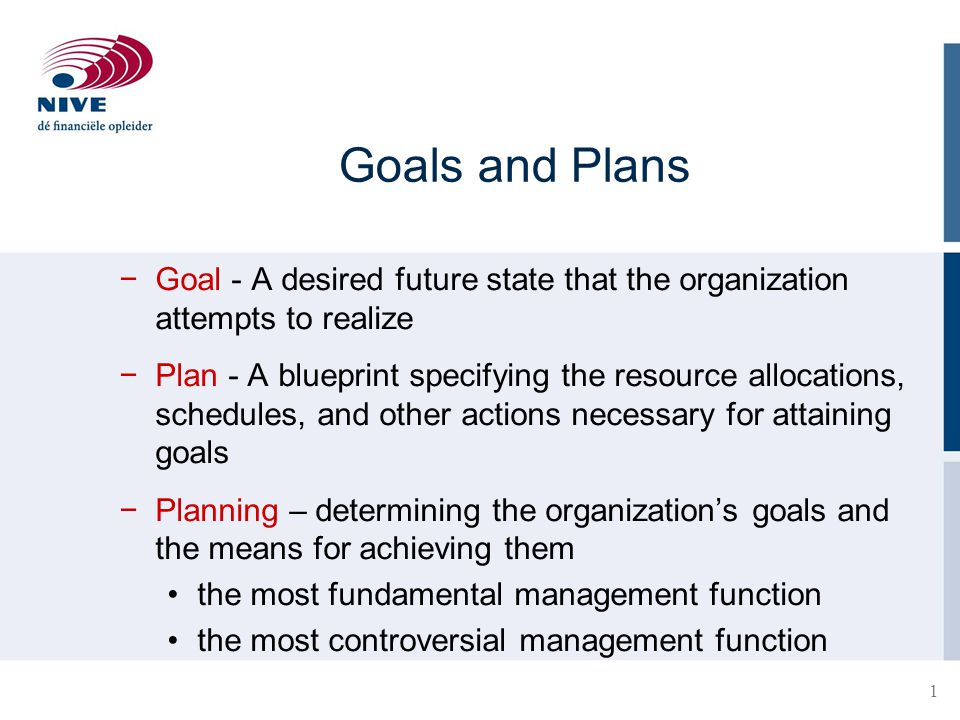 Goals and Plans Goal - A desired future state that the organization attempts to realize.