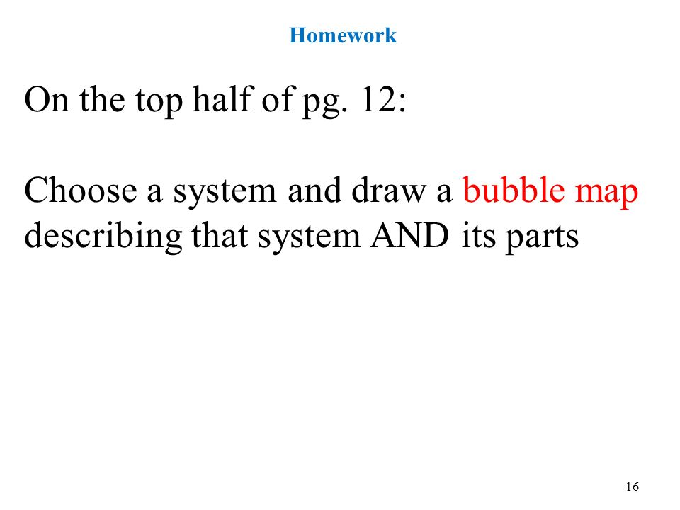 Homework On the top half of pg.