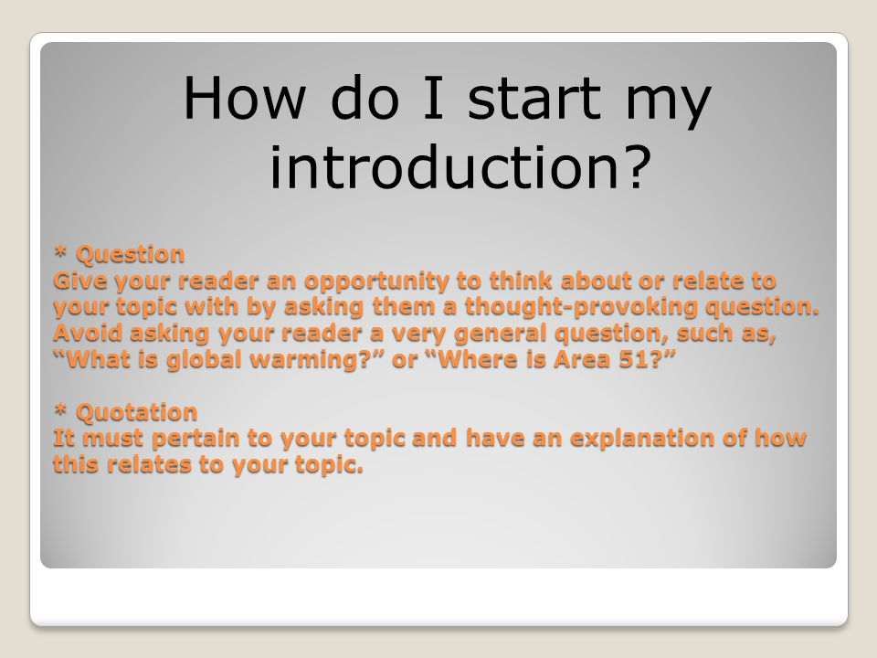How do I start my introduction