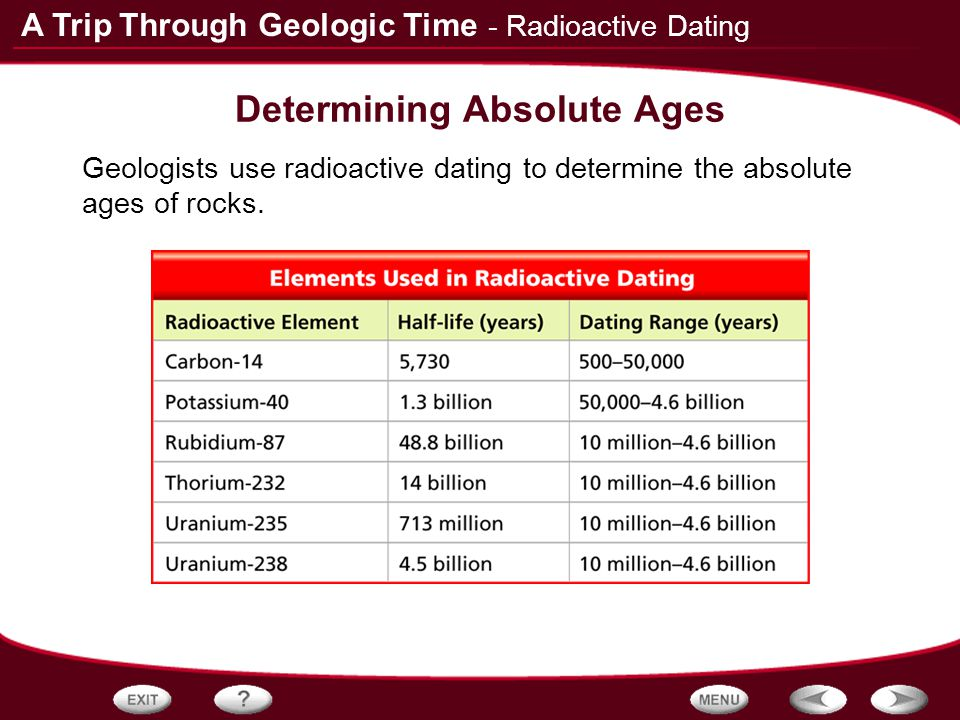 What does radioactive dating enables geologists to determine the number