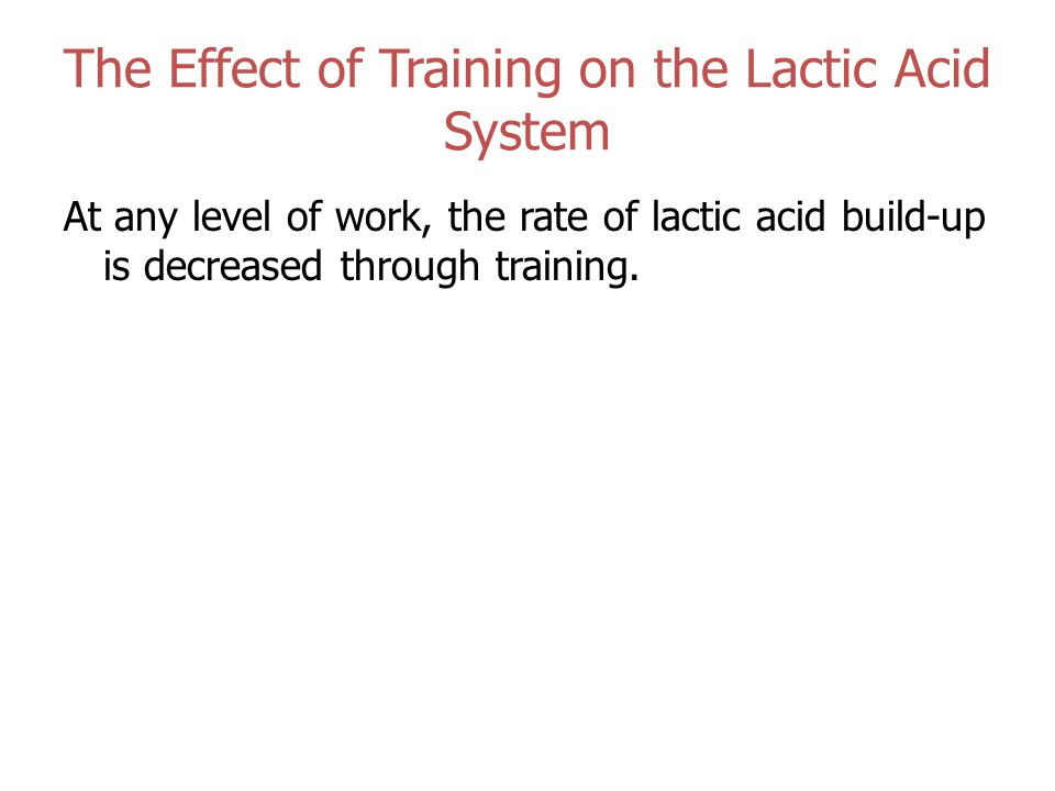 The Effect of Training on the Lactic Acid System