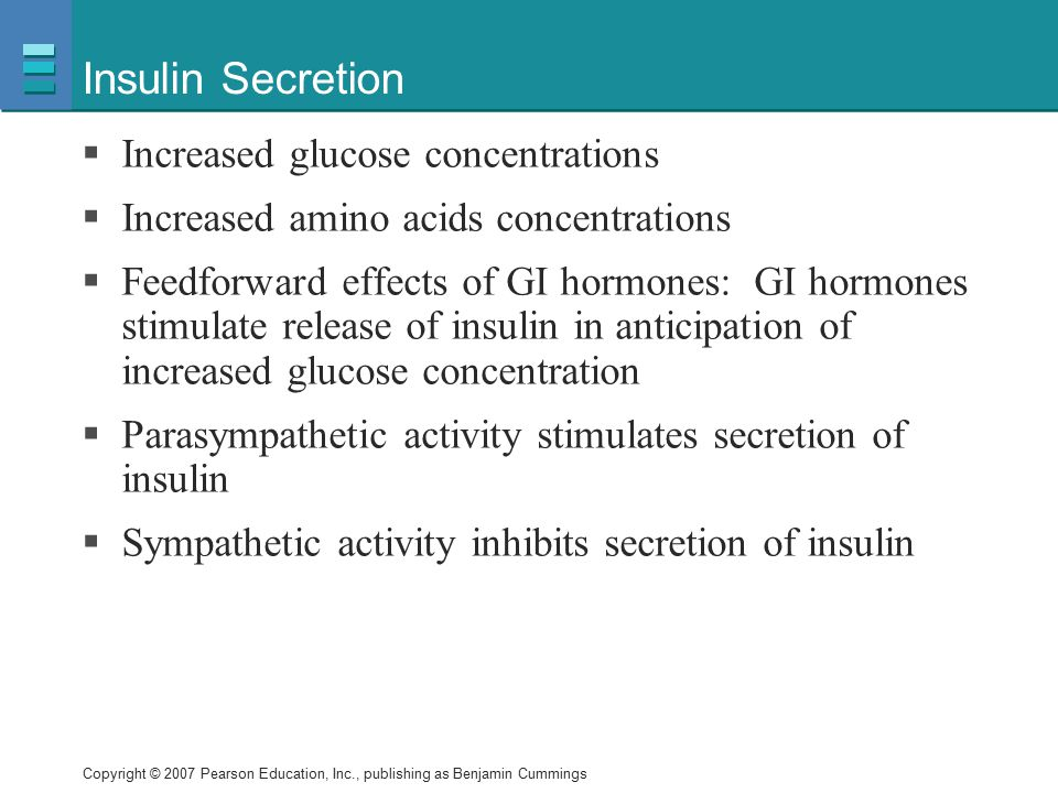 Insulin Secretion Increased glucose concentrations