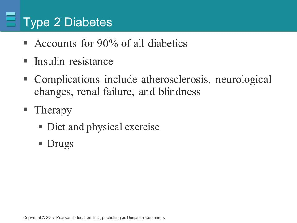 Type 2 Diabetes Accounts for 90% of all diabetics Insulin resistance