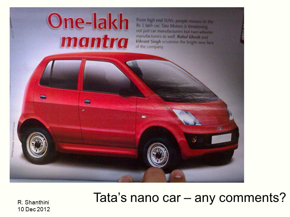 Tata's nano car – any comments