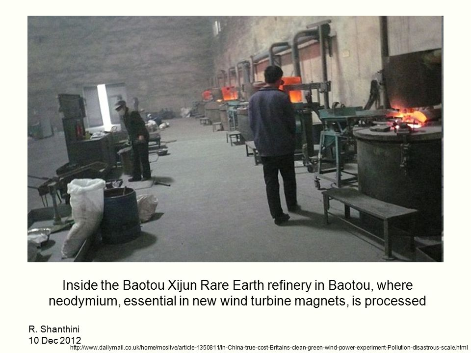 Inside the Baotou Xijun Rare Earth refinery in Baotou, where neodymium, essential in new wind turbine magnets, is processed