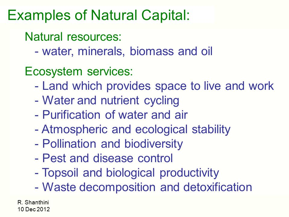 Examples of Natural Capital: