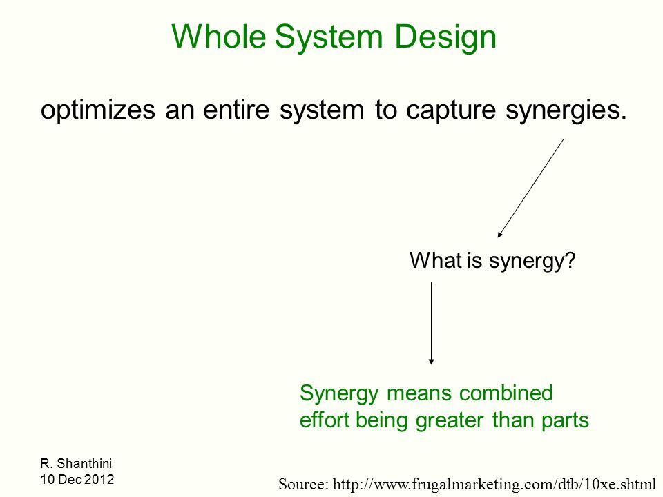 optimizes an entire system to capture synergies.