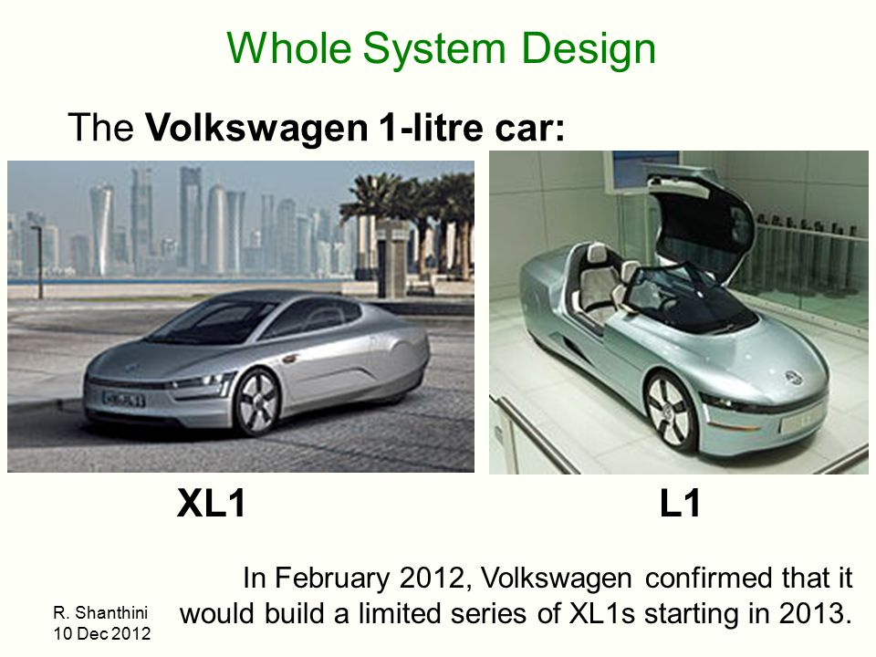 Whole System Design The Volkswagen 1-litre car: XL1 L1