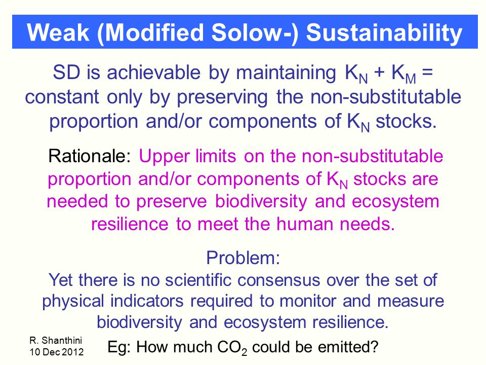 Weak (Modified Solow-) Sustainability