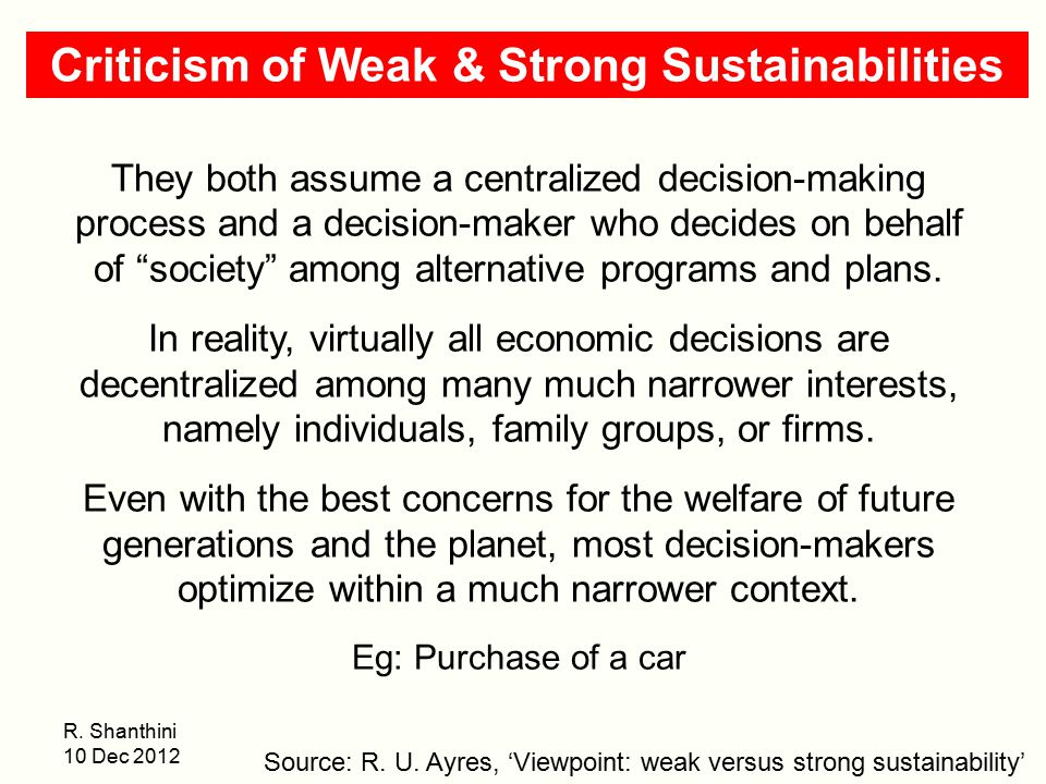 Criticism of Weak & Strong Sustainabilities