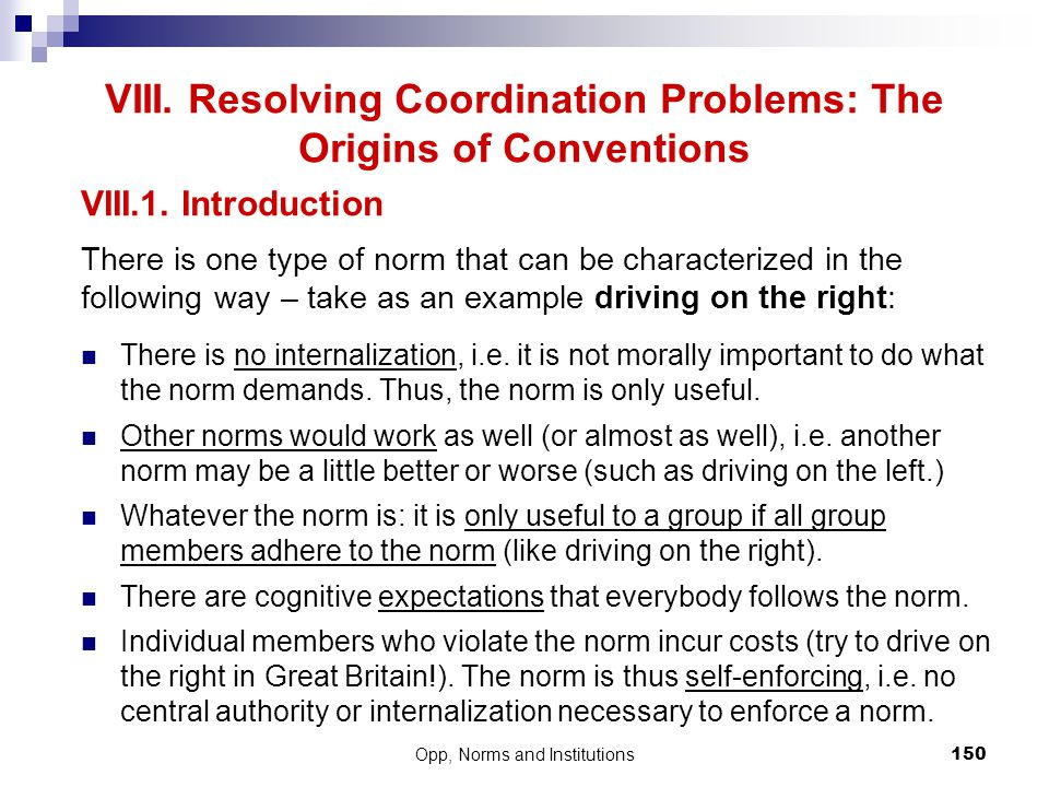 VIII. Resolving Coordination Problems: The Origins of Conventions