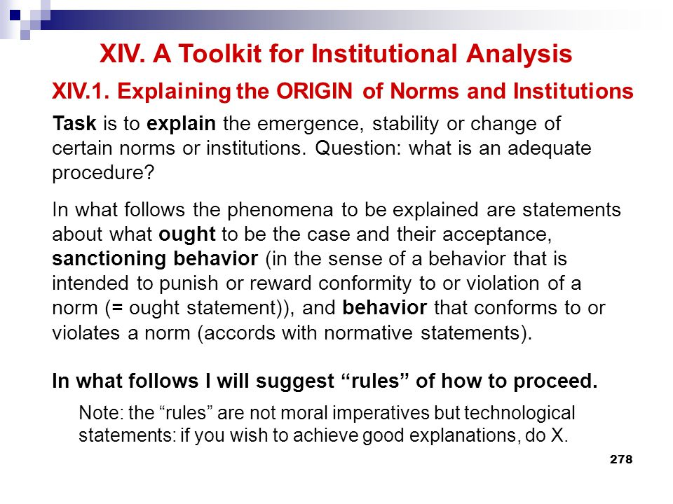 XIV. A Toolkit for Institutional Analysis