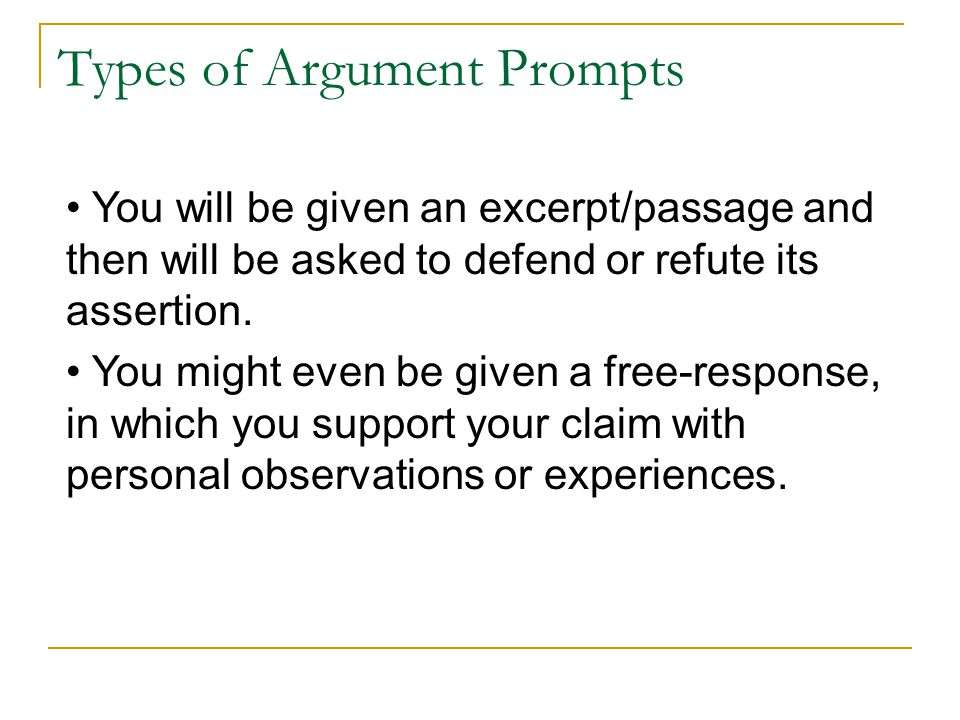 Types of Argument Prompts