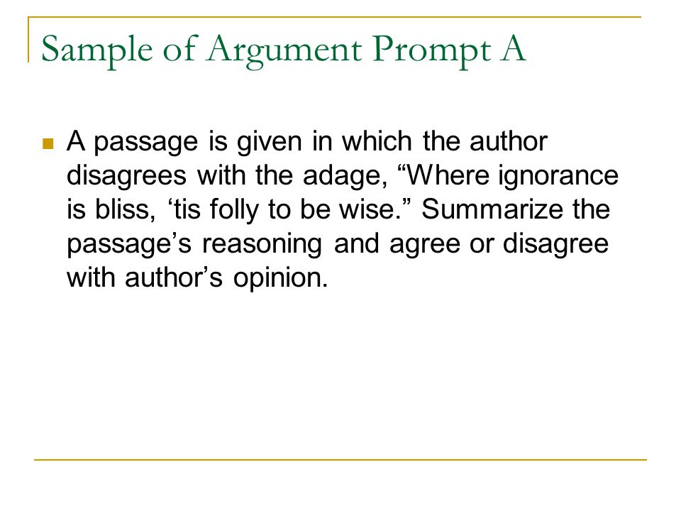 Sample of Argument Prompt A