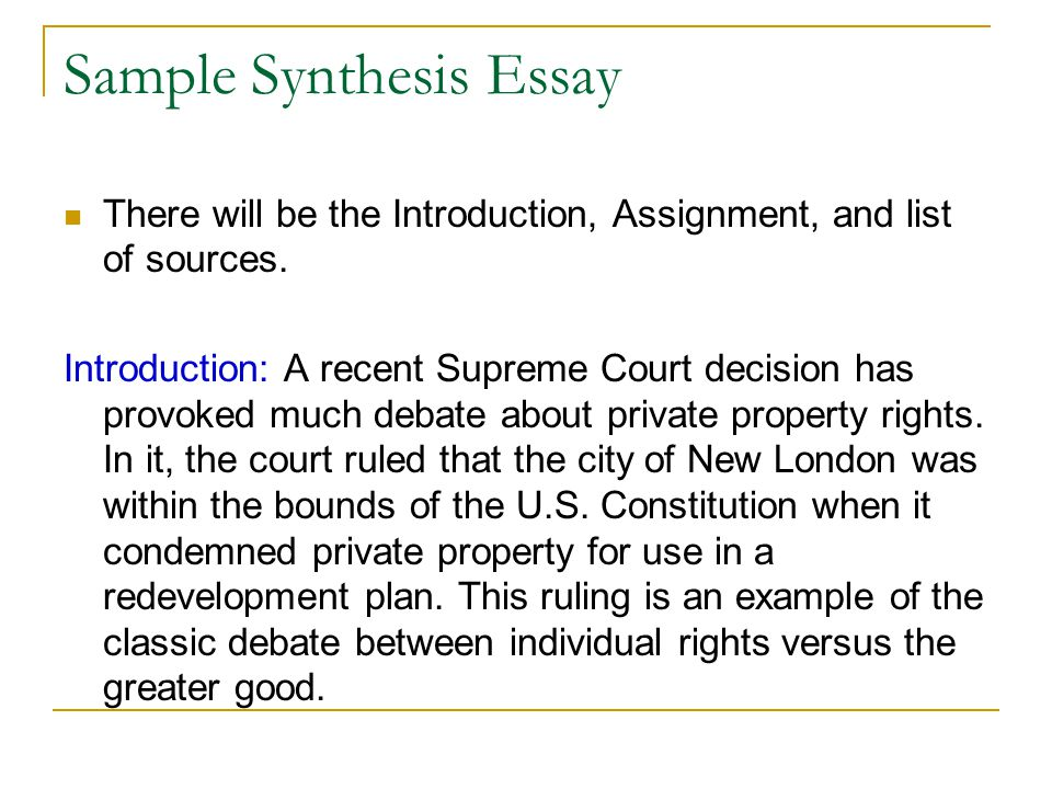 Sample Synthesis Essay
