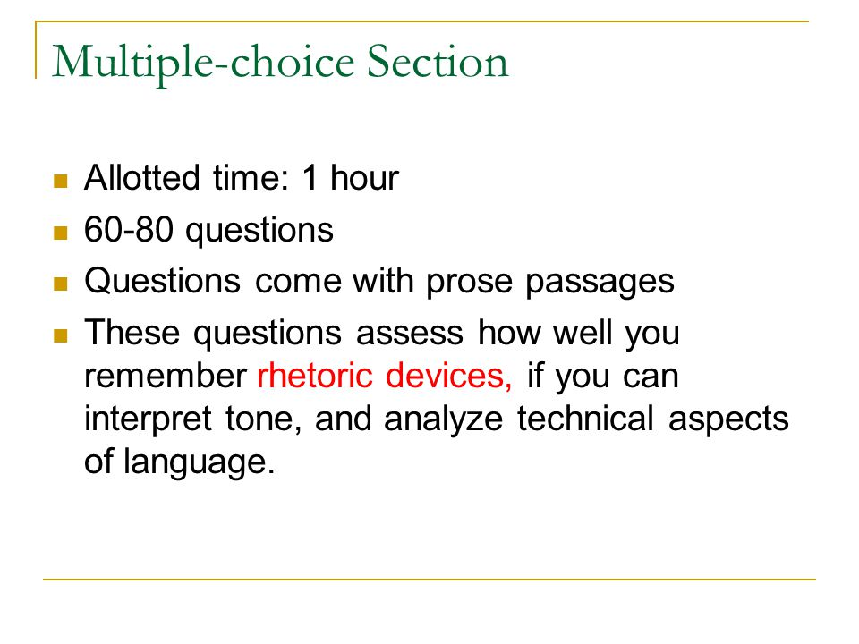 Multiple-choice Section