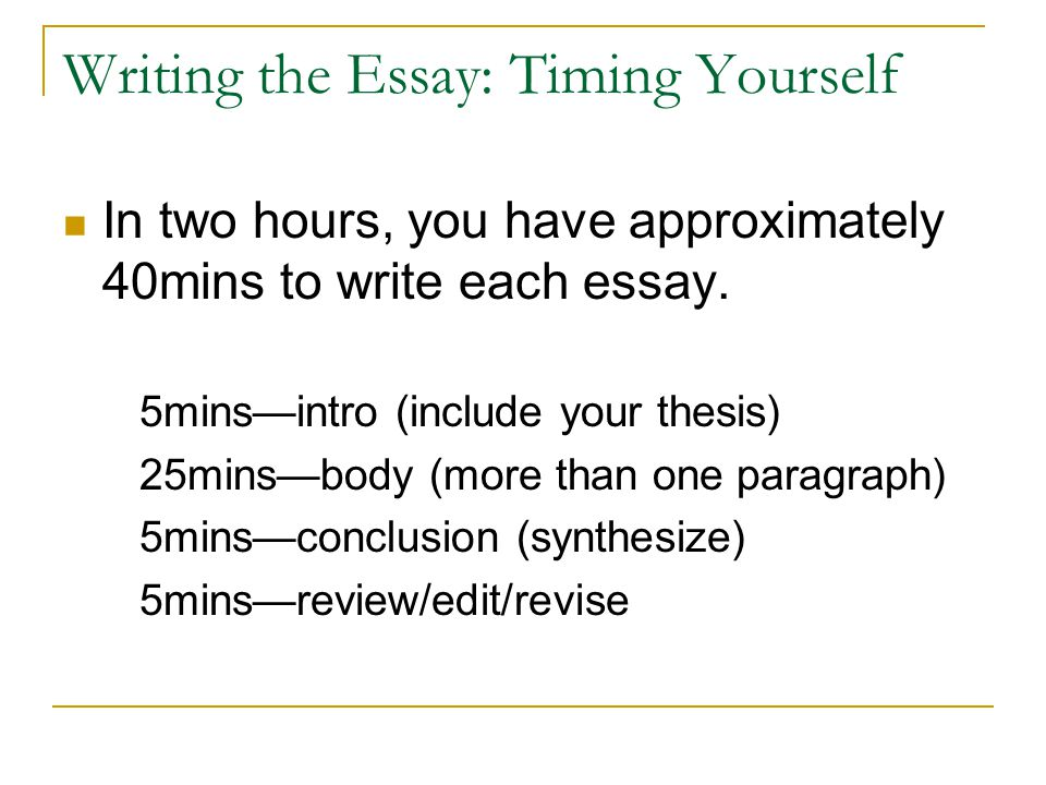Writing the Essay: Timing Yourself