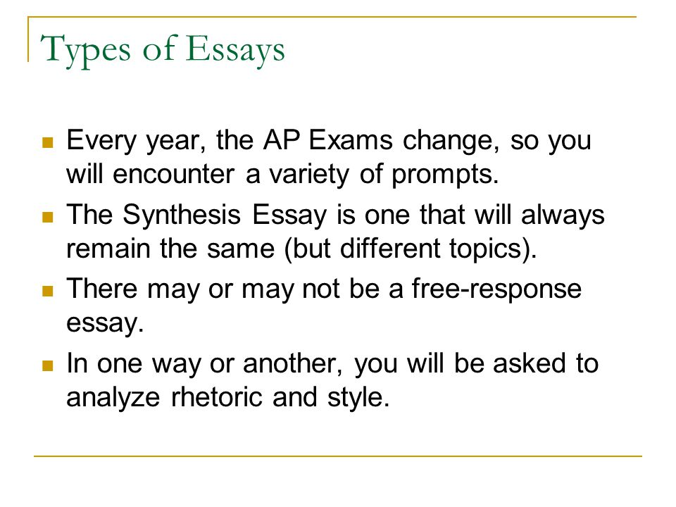 Types of Essays Every year, the AP Exams change, so you will encounter a variety of prompts.