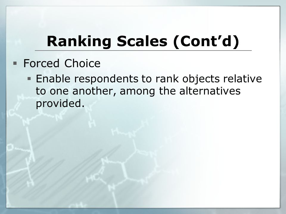 Ranking Scales (Cont'd)