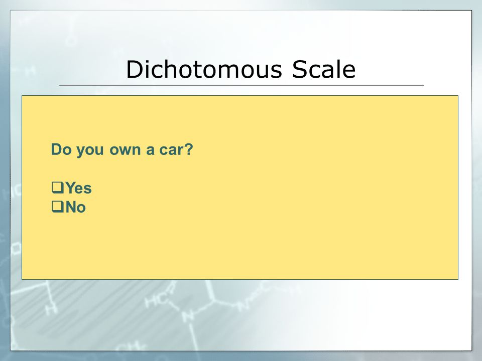 Dichotomous Scale Do you own a car Yes No