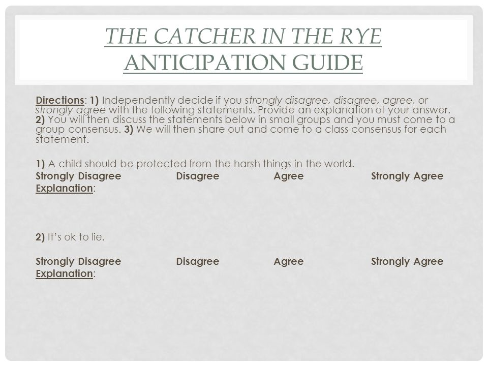 91814 Do Now Complete The Catcher In The Rye Anticipation Guide